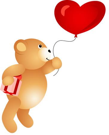valentine s day teddy bear: Love Teddy Bear Flying on Balloon