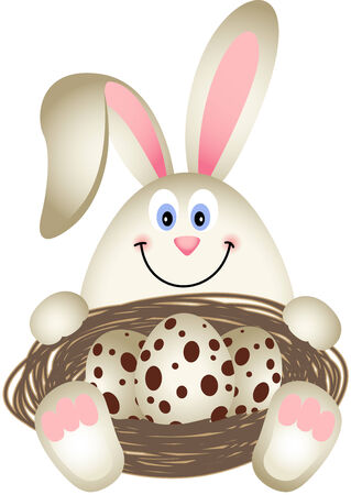 Easter Bunny with Quail Eggs in the Nest