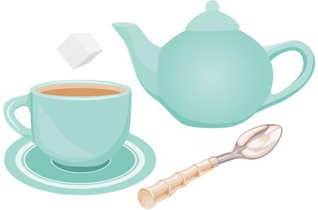 sugar spoon: Tea set Illustration