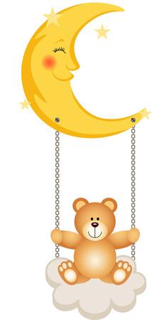 child sleeping: Teddy Bear Swinging in Moon Illustration