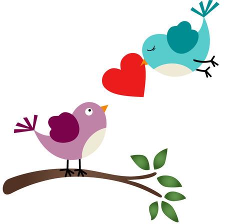 flower clip art: Lovely Bird Illustration
