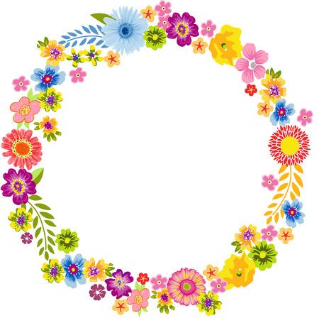 flor aislada: Redondo Marco de flores de primavera Vectores