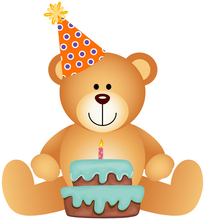 Ours en peluche avec gâteau d'anniversaire