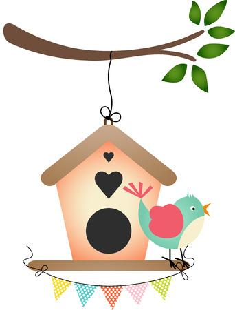 night bird: Bird and Birdhouse Illustration