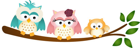 Happy Owl Family on Tree Branch Illustration