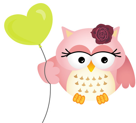 Pink Owl with Balloon Vector