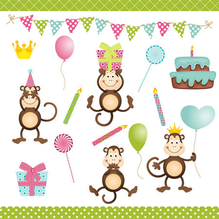 Monkey Birthday Party Vector