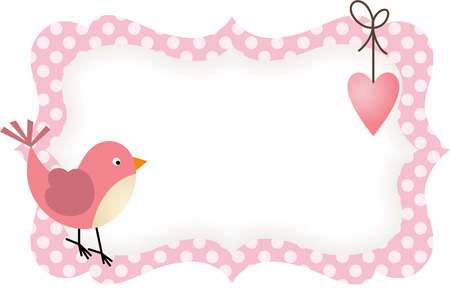 the trappings: Pink Bird Heart Blank Label Illustration