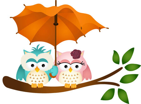 Owls under umbrella Vector