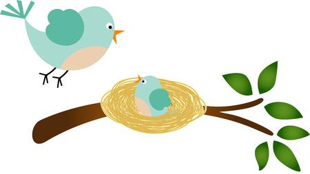 nido de pajaros: Padre de aves y su pajarito Vectores