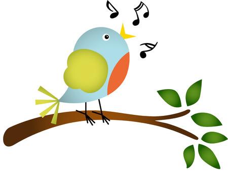 Petit chant d'un oiseau sur une branche d'arbre Banque d'images - 26036201