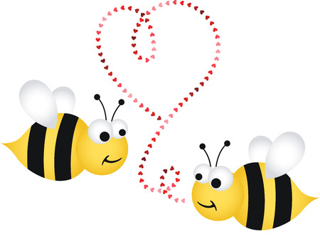 Two cute bees in love Vector
