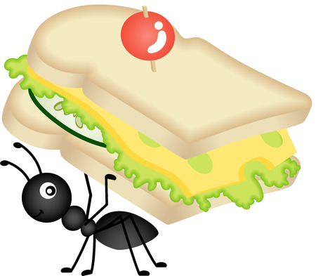 insect ant: Ant Carrying Cheese Sandwich Illustration