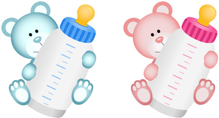 Lovely Baby Teddy Bear with Baby Bottle Vector