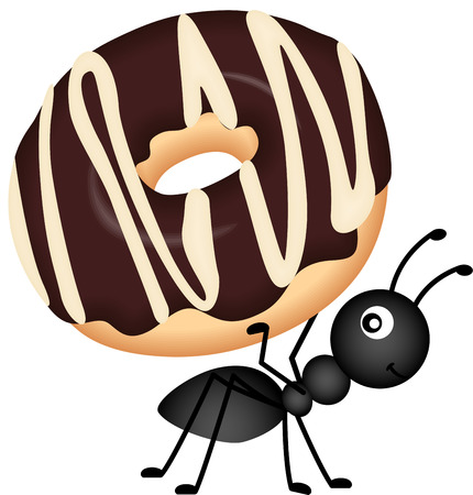 insect ant: Ant Carrying Donut Illustration