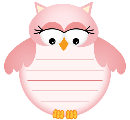 Pink Baby Owl with Label Vector