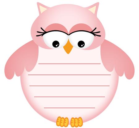 Búho rosado del bebé con la etiqueta