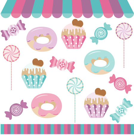 cupcakes isolated: Candy Shop Digital Collage