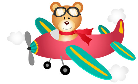 Teddy bear fly on a airplane Vector
