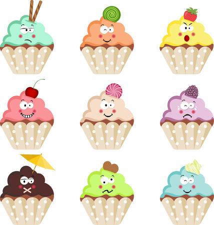 Emoticon Cupcakes Vector