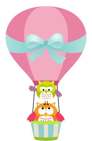 Owls in a Hot Air Balloon Vector