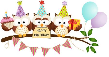 お誕生日おめでとうかわいいの 3 羽のフクロウ  イラスト・ベクター素材
