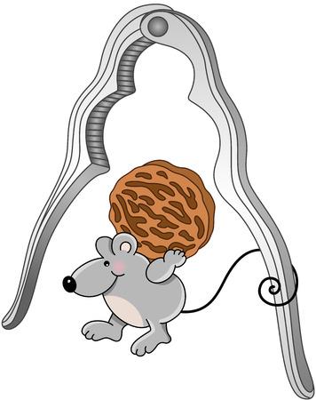 nutcracker: Mouse with walnut and nutcracker