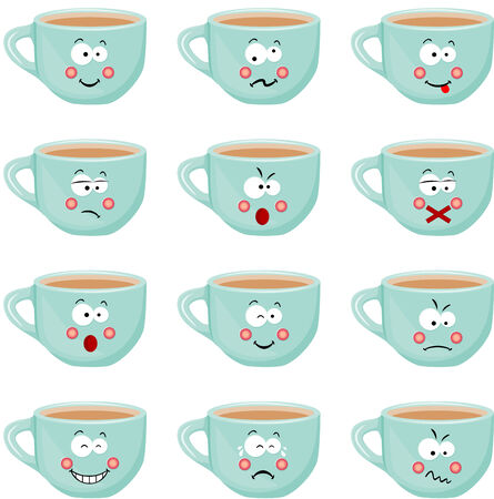 countenance: Cup with different expressions