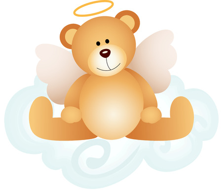 Angel teddy bear on cloud Illustration