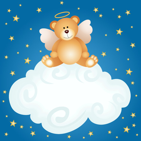 Teddy bear angel baby cloud background Vector