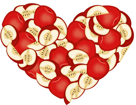 Apple Heart Shaped Vector