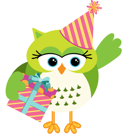 Birthday owl with gift box Vector