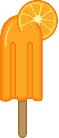 ice cream stick: Naranja Helado Palo Vectores