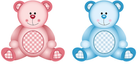 birthday teddy bear: Baby Pink and Baby Blue