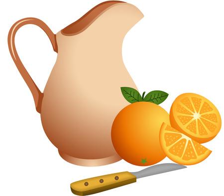 Clay jug with oranges Vector