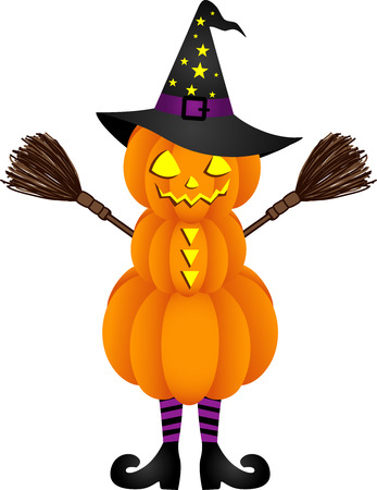 Halloween pumpkin doll with witch hat Vector