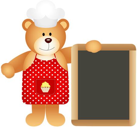 Cook teddy bear with slate board Vector