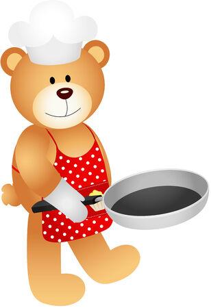 Teddy bear with skillet Vector