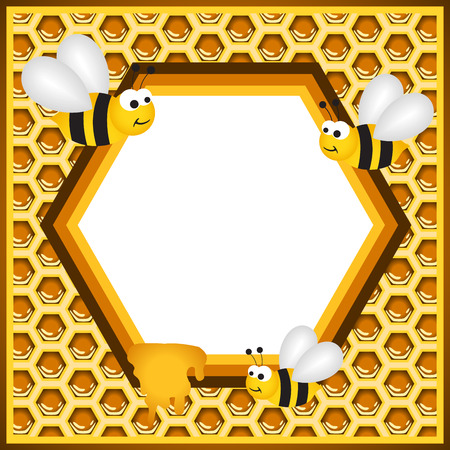 Flying Bees in a Honeycomb Frame Vector