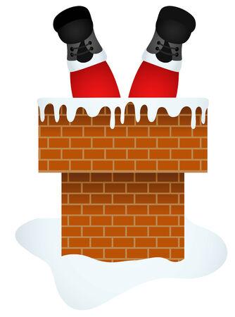 chimney: Santa Claus entering through the Chimney Illustration