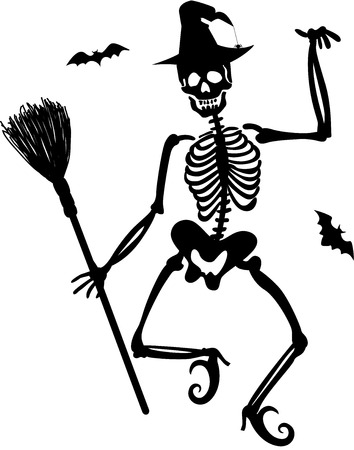 Witch Skeleton Vector