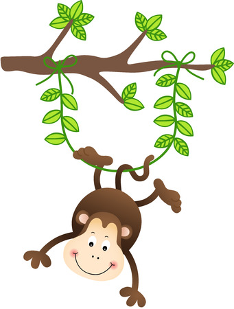 Monkey Hanging From a Tree Vector