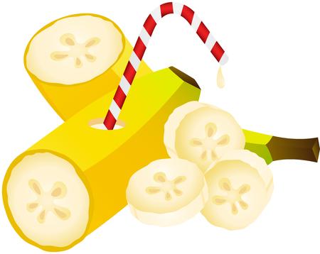 banana sheet: Banana with Straw