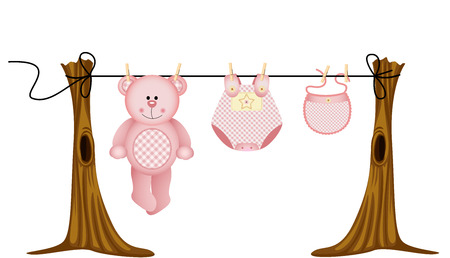 Baby girls clothing with teddy bear on clothesline Vector
