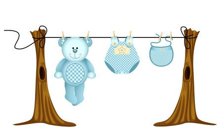 Baby boys clothing with teddy bear on clothesline Vector