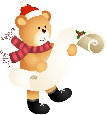 Teddy bear with wishlist for christmas on a parchment