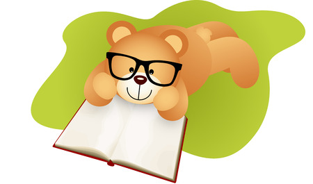 didactic: Teddy bear lying down reading a book