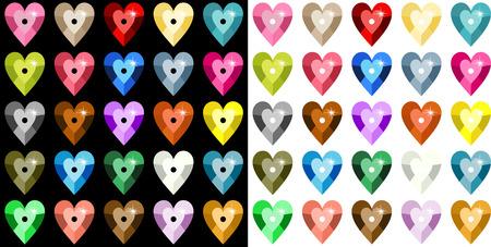 paillette: Colored heart sequins Illustration