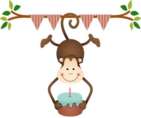 Hanging monkey holding a  birthday cake Vector