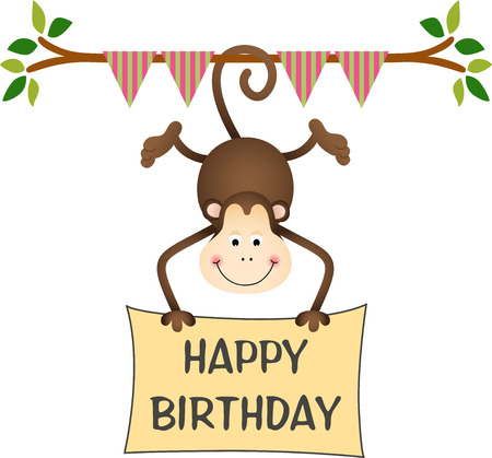 Hanging monkey holding a happy birthday sign Vector